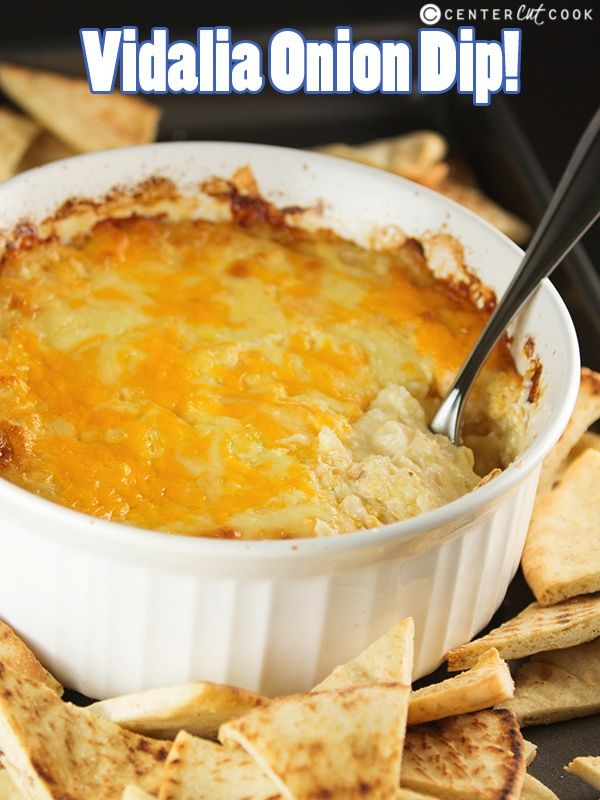 Vidalia Onion Dip Recipe made from scratch with cream cheese, swiss cheese, cheddar cheese, and finely chopped vidalia onions baked until golden brown and bubbly! (Swiss Cheese Chips)