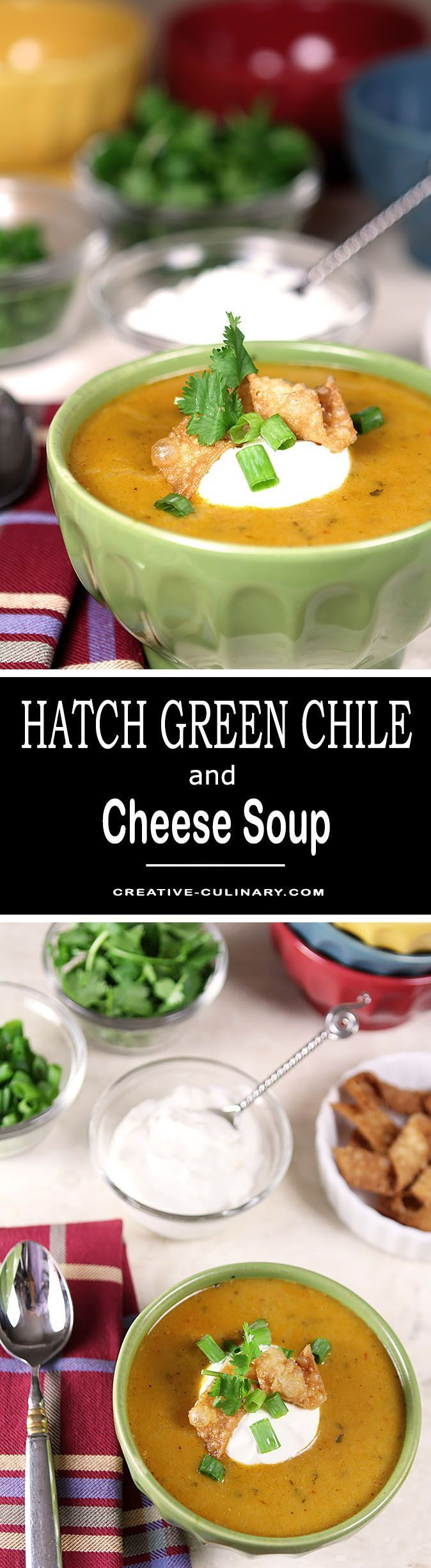 Hatch Green Chile and Cheese Soup is warm and spicy and perfect for the colder months to come. Topped with sour cream for a cool dollop; it's perfect. via @creativculinary  #hatch #green #chile #soup