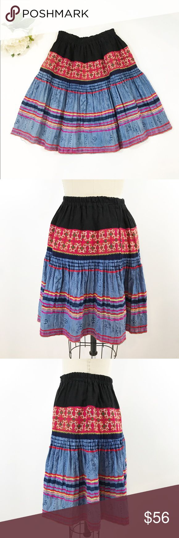 """⭐️ NEW ARRIVAL Vintage Patchwork Skirt Colorful I'm in love with this patchwork vintage skirt. Beautiful panels of embellished and stamped fabric, bright colors and tempered by the solid black top. Fabulous!! Wear it with a black top and red shoes or a white tee and sandals. Waistband is elastic, measures 24"""" unstretched to about 32"""" comfortably. Length 20.5"""". Very good condition, no noted issues. Vintage Skirts"""
