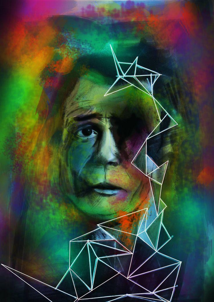 este o o combinatie de portret cu ulei si grafica pe calculator.(PRINT)