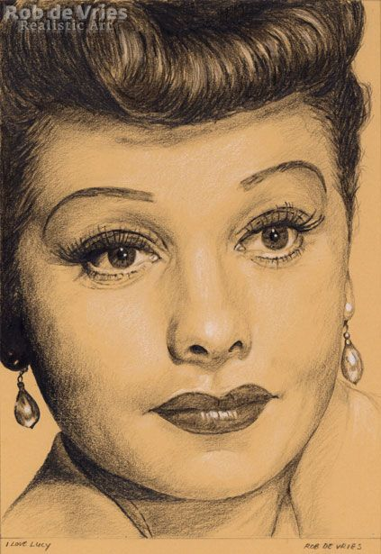 """August 2017, Lucy Ball """"I Love Lucy"""", Charcoal, Ink and white chalk on coloured paper. 21 x 15 cm. Available."""