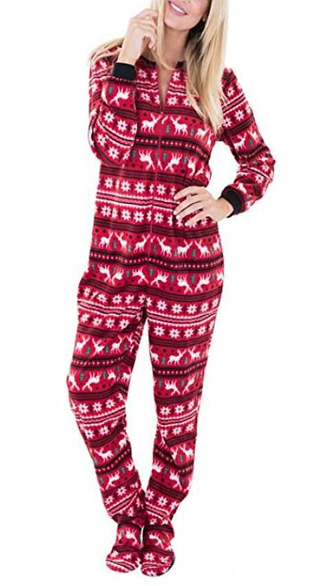 Plush Reindeer Footed Onesie  https://www.australiaqld.com/product/plush-reindeer-onesie/ #fashion #style #dresses