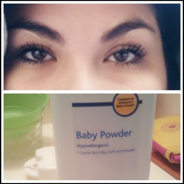 18. Put baby powder in between coats of mascara and you\'ll notice a huge difference in volume.