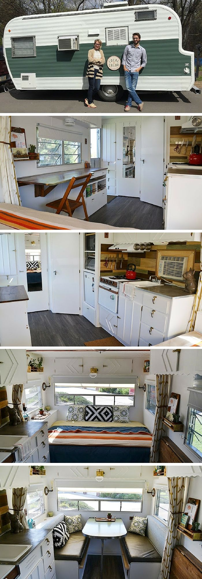 300 best rv decorating ideas images on pinterest camper a couple from nebraska bought this 1960 s trailer and remodelled it into a home to travel