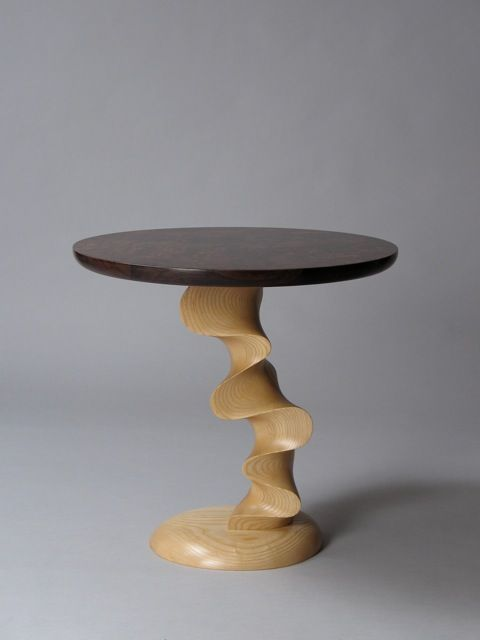 Custom End Table in walnut burl and Vermont ash by David Hurwitz