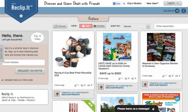 Reclip.it, a Pinterest for deal lovers (or perhaps a Groupon for Pinterest for deals).