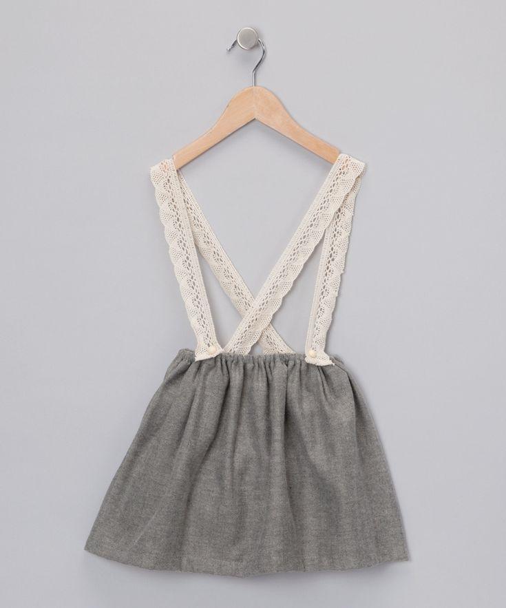 gray amp ivory suspender skirt toddler amp girls kids
