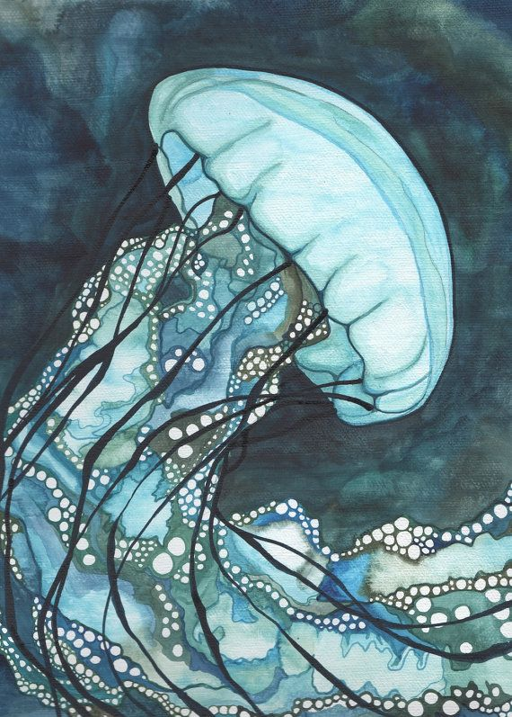 Aqua Sea Nettle JELLYFISH 5 x 7 print of by DeepColouredWater, $15.00