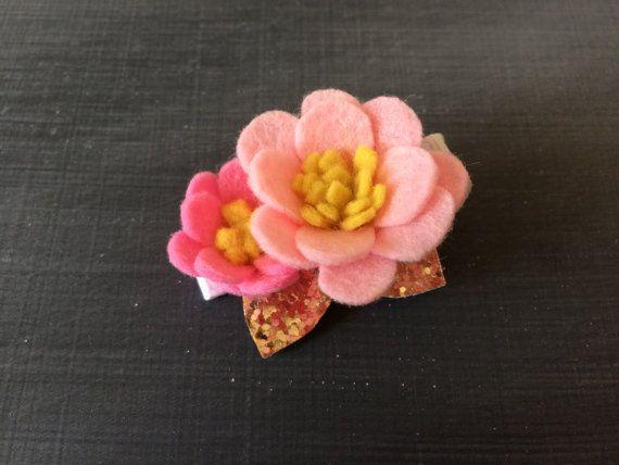 Flower Hair Clip  Glitter Hair Clip  Felt Flower by LittleMissHush