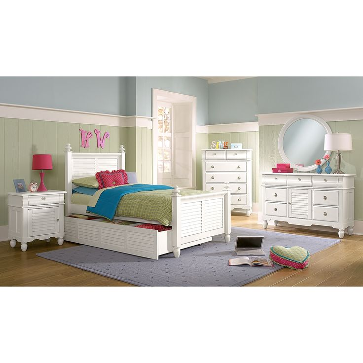Seaside White Twin Bed with Trundle | Value City Furniture