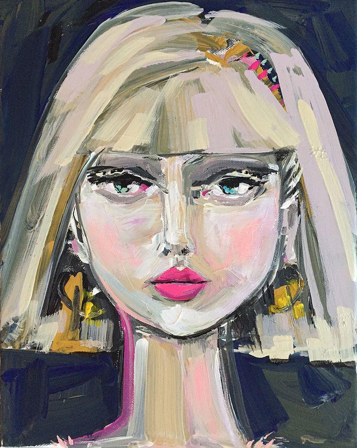 Girl Portrait Painting, canvas art, 11x14,  woman portrait, original art by Marendevineart on Etsy