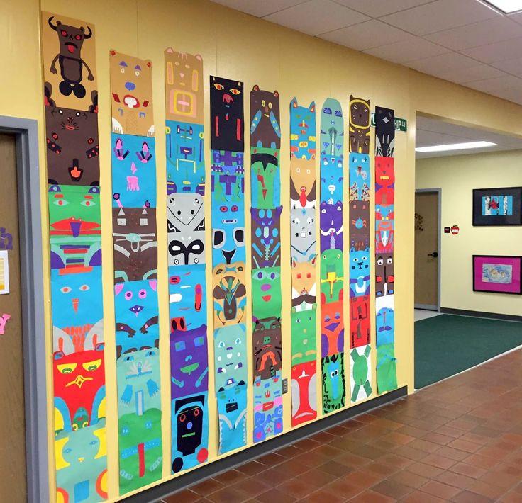Thomas Elementary Art: 4th Grade Totem Poles Integrating Social Studies, art, and even math (symmetry)