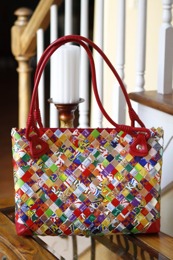 Multicolor Candy Wrapper Purse with Red Handles by artzybeads, $145.00
