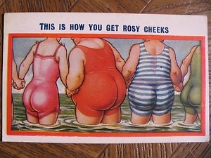 Vintage-Cartoon-Fat-Ladies-in-Water-Postcard-Postmarked-1929