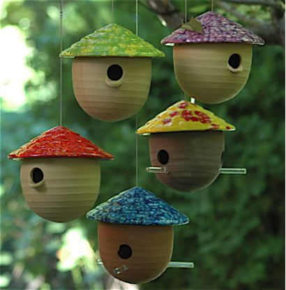 Ceramic Gourd Birdhouses (feeders too) Weather-proof stoneware in fun colors to entice feathered friends! Hand made in the USA