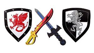 Amazon.com: Foam Sword and Shield 2 Pack Ninja Warrior Weapons Toy Set for Kids + Red Fire Sword Dragon Shield Vs Blue Ice Sword Lion Shield: Toys & Games