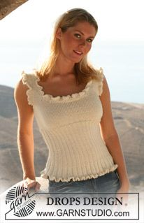 "DROPS sleeveless top with lace borders in double or single thread ""Alpaca"". Size S – XXXL ~ DROPS Design"