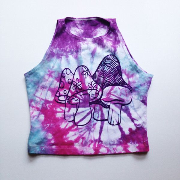 Tie Dye Rave Crop Top Trippy Mushrooms Tye Dye Cropped Tank American... ($28) ❤ liked on Polyvore featuring tops, black, crop tops, women's clothing, yoga shirt, black tank, crop tank top, black crop tank top and summer shirts