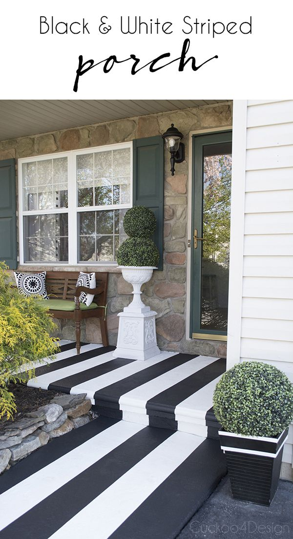 Painting Crisp Black And White Stripes on Textured Front Porch - learn the trick behind getting crisp lines every time no matter what tape you use - Cuckoo4Design