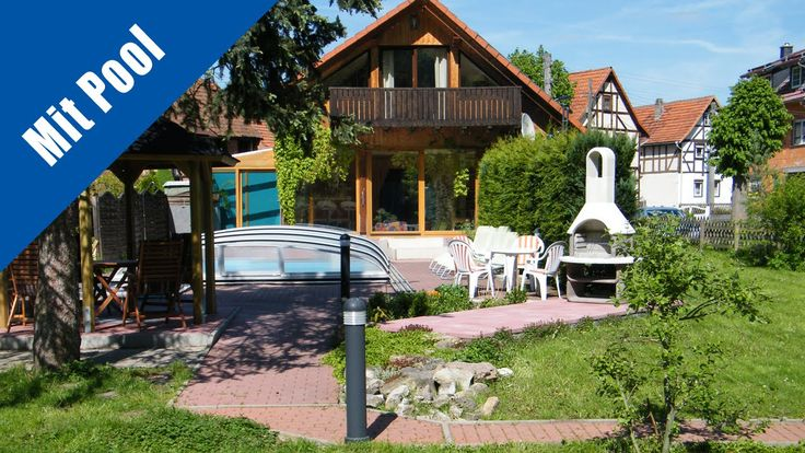 Ferienhaus mit Pool für Urlaub mit Hund im Thüringer Wald