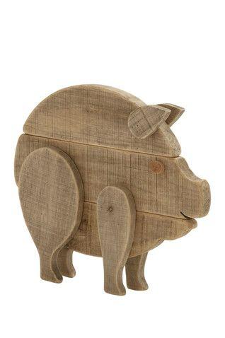 "Wooden Pig 15"" Decor"