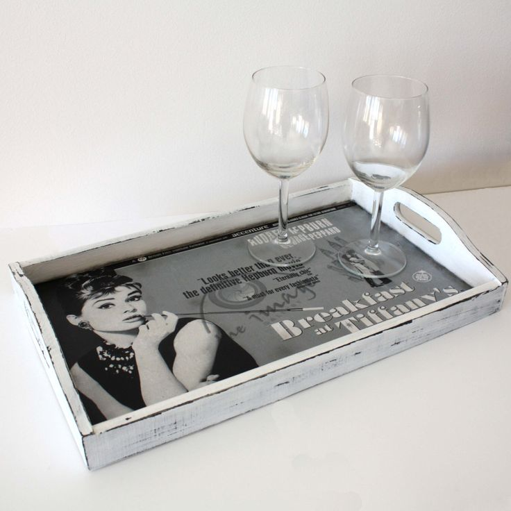 Distressed Black & White Tray with decoupage -Audrey Hepburn - Breakfast at Tiffany's by WoodenStories on Etsy https://www.etsy.com/listing/168730526/distressed-black-white-tray-with