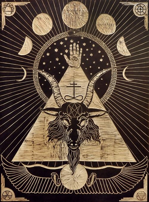 moon Magic Egypt snake goat pyramid ocultism thelema baphometh divine providence