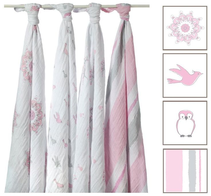 "We think this Aden and Anais Classic Swaddle pattern is just fab. It's called ""For the Birds"" and it offers a pretty pink and grey design."