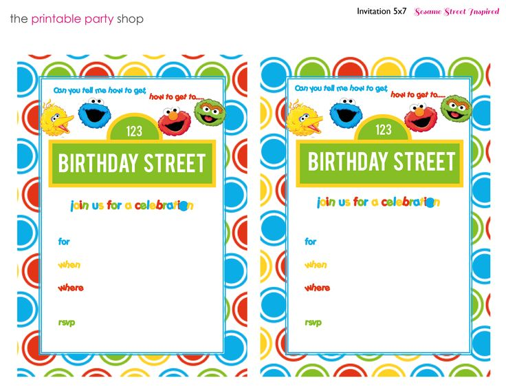 Sesame Street Printable Invitation DIY Fill in the Blank Free - birthday invitation template printable