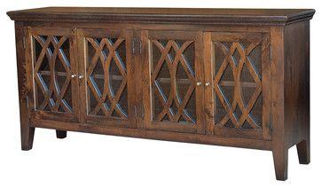 Azalea Sideboard, Antique Brown, 4 Door mediterranean buffets and sideboards