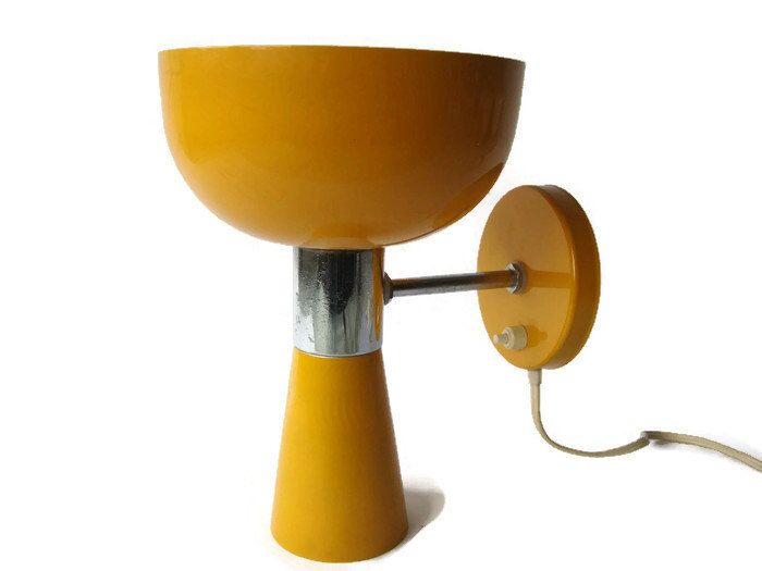 Vintage Wall Sconce Lamp Yellow And Chrome By VintageBreda On Etsy