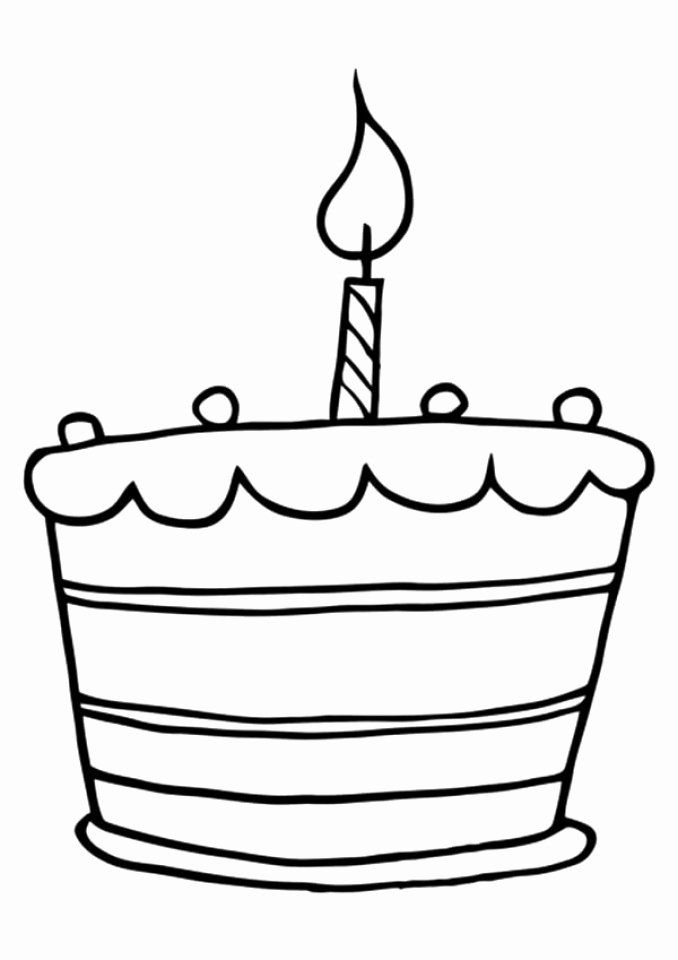 Coloring Page Birthday Cake Elegant Get This Line Birthday Cake Coloring Pages Cake Drawing Birthday Cake With Candles Cake Clipart