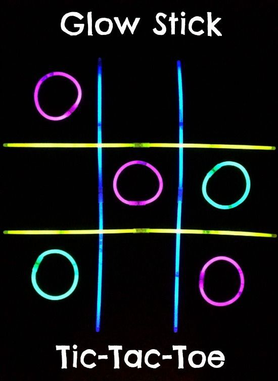 A great outdoor summer night game for a GEMS party or campout! Glow in the dark tic-tac-toe!