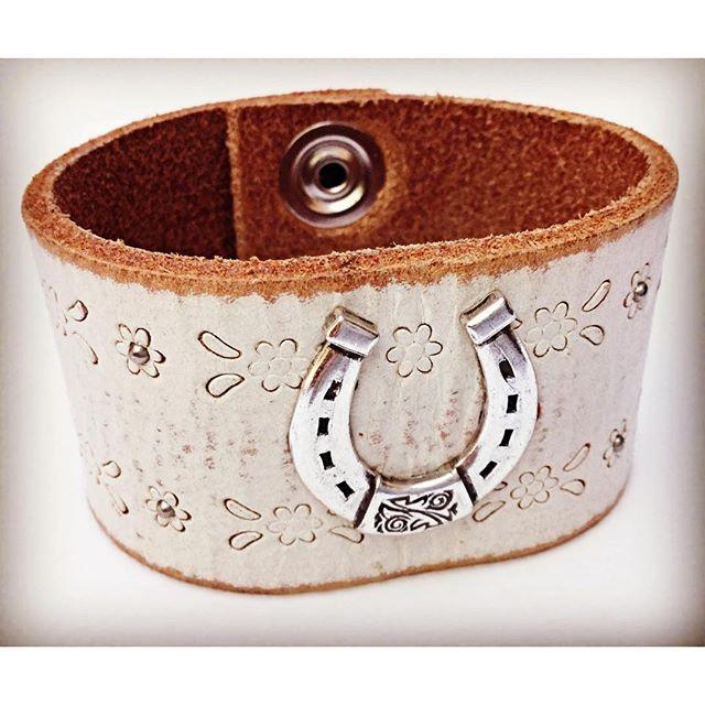 White Leather Horseshoe Cuff for $26