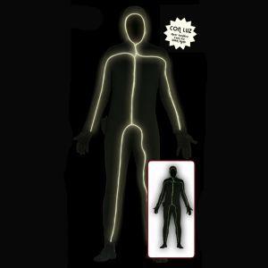 Ce déguisement de seconde peau noire est entièrement lumineux, un faisceau de lumière parcour tout le corps créant une silhouette lumineuse.