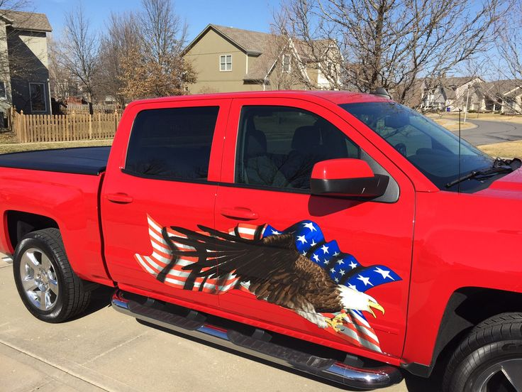 Bald eagle american flag large decal on red pick up truck