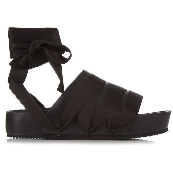Ellery Flamingo ribbon and leather slides (€330) ❤ liked on Polyvore featuring shoes, sandals, black, gladiator shoes, black shoes, black sandals, black flatform sandals and wide sandals