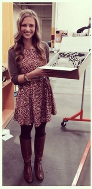Dress with Cardigan, Tights, and Boots! Perfect for Fall!