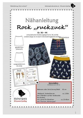"Nähanleitung und Schnittmuster: Rock ""ruckzuck"" Gr. 36 – 44/46 – Rosi Fischer"