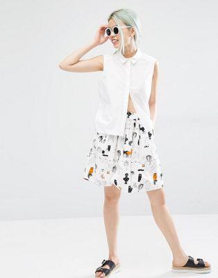 Monki Printed A-Line Skirt