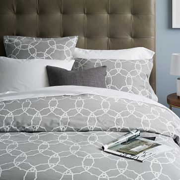 Organic Regal Medallion Duvet Cover + Shams - like the simple geometric pattern and gray color (add a pop of color)