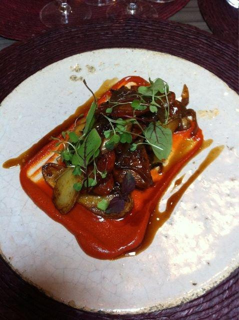 Starter @ #Lujon in Kent Chorizo, potato red pepper with @c_perelada 5 Fincas delicious!