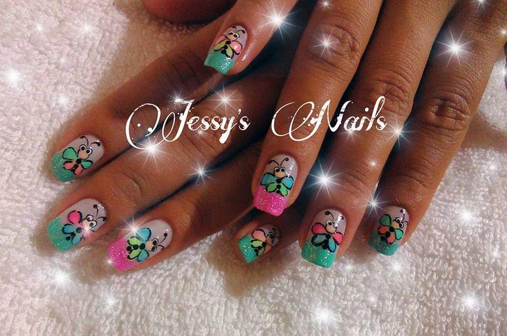 decoración de uñas mariposas butterfly nail art #uñas #maripositas