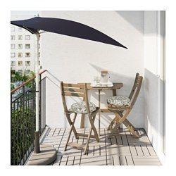 IKEA - ASKHOLMEN, Tavolo parete/2sedie pieghev estern, Il tavolo e le sedie occupano poco spazio quando li metti via, poiché sono pieghevoli.Per prolungarne la durata e conservare l'aspetto naturale del legno, il mobile è stato trattato con uno strato di mordente per legno semitrasparente.