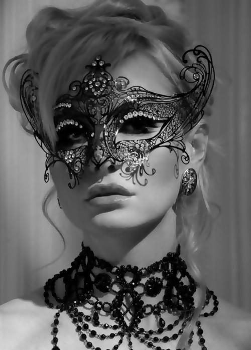 Mask for masquerade -- intriguing and sensual. Like lace for the face. The necklace matches too.