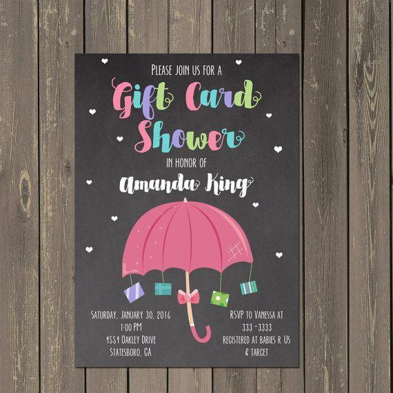 Gift Card Baby Shower Invitation, Baby Sprinkle Invitation, Umbrella Baby Shower Invitation for girl or boy, Chalkboard Baby Shower Invite