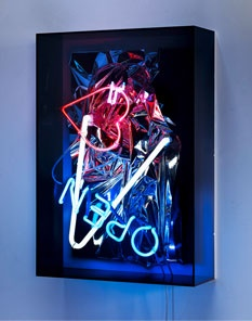 Anselm Reyle - Neon. Neon-classical. Old raroque oil paintings with neon lights in acrylic case.