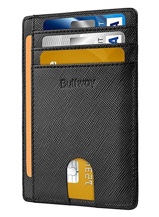 4d69b9314253 Slim Minimalist Leather Wallets for Men   Women - Cross Black ...