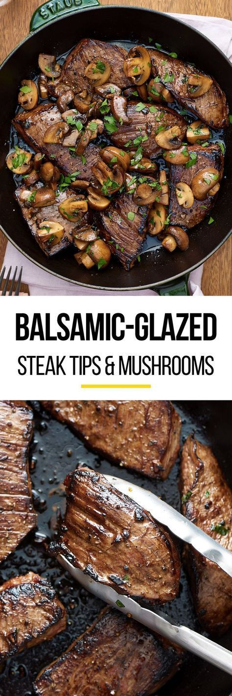 Quick & easy balsamic glazed & marinated steak tips and mushrooms recipe. The marinade for this simple one pan weeknight dinner is SO GOOD. Great for families or just two. Healthy, low carb meals like this are family favorites. You'll need sirloin steak tips (or flank steak or flap meat), soy sauce, balsamic vinegar, garlic, dijon mustard, cremini mushrooms, and butter. You don't even need to turn on the oven - cook it on the stovetop!