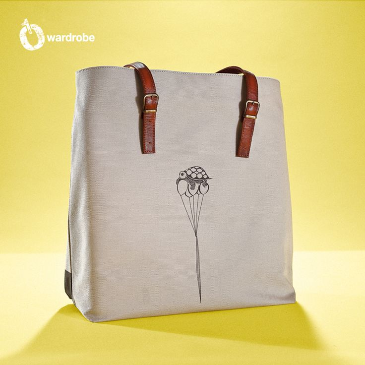 01WARDROBE Autumn/Winter 2013 - Beige Family Tote Bag Back, Cow Skin Leather Shoulder Straps // %100 Cotton Canvas bag / Printed bag / İllustrated bag / $69